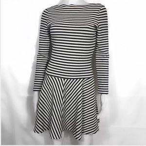 Zara Navy striped long sleeve skater dress Sz s